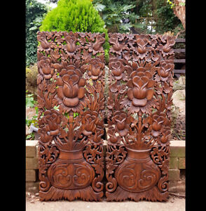 Master Carved Teak Wood 2 Piece Lily Lotus Flowers,Roses,Wall Panels,Wall Art,