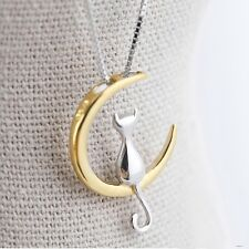 Crescent Cute Gifts Kitten Jewelry Moon Cat Pendants Necklace Silver Plated Gold