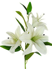 New Artificial Fake Real Touch Flower 3 Head White Tiger Lily 102cm