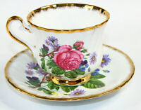 Royal Ardalt Teacup Saucer Bone China England Pink Roses Gold Trim
