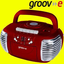 Groov-e gvps813 ROUGE RETRO LECTEUR CD RADIO AM / FM CASSETTE Boombox aux input + aux