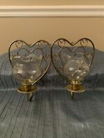 Pair of Brass wall candle holders Sconces Glass votive holders Heart Design EUC