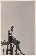 Antique Photo / Young Man in Swimsuit / Japanese / c. 1930s