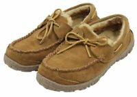 Clarks Mens Brown Leather Faux Fur Boat Loafers Casual Slip-On Shoes Size 8M
