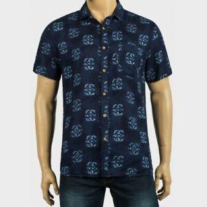 Peacocks Mens Navy Short Sleeve Printed Shirt-Size S, M, L, XL, XXL, XXXL