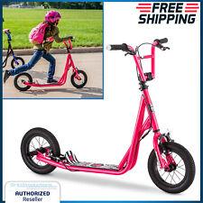 Kids Kick Scooter 12 Inch Wheels Tires Bmx Freestyle Girls Child Ride Steel Pink