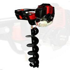 "49cc Gas Engine Post One Man Hole Digger w/8"" Ice Auger Bit Double Blade"