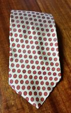 "BANANA REPUBLIC Men's Silk Polka Dot Tie 57"" Red/Bronze EUC Made in Italy"