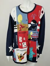 NEW Quacker Factory Cardigan Sweater 2X New York Orleans Angeles Vegas Travel