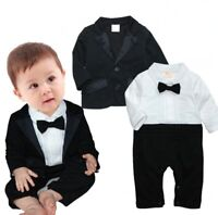 Baby Kids Boys Wedding Formal Dressy Party Tuxedo Suit Clothes Outfit Set 3-24M