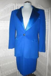 Stunning ESCADA Cobalt Blue Tuxedo Couture Suit Skirt & Jacket Size 38