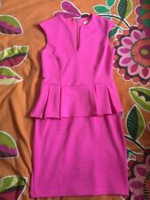 River Island Dress UK 8 Bright Pink Thick Peplum Party Night Out