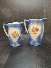 More details for vintage sylvac style jugs/ vases blue flower design