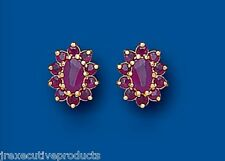 Ruby Earrings Ruby Cluster Studs Natural Ruby Stud Yellow Gold Ruby Earrings