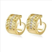 Shiny 18K Gold Plated Cut Out Hollow Huggie Hoop Cubic Zirconia CZ Earrings Gift