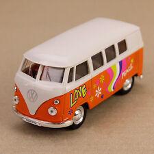 1963 T1 Volkswagen VW Kombi Peace Van Microbus 11.5cm DieCast Model Car Orange