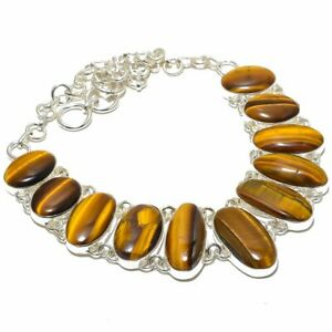 """Thai Tiger'S Eye Gemstone 925 Sterling Silver Necklace Jewelry 16-18"""" T2797"""