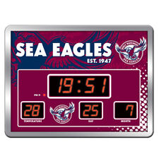 MANLY SEA EAGLES NRL SCOREBOARD LED Glass Wall Clock Date Time Temp Man Cave KE
