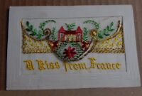 WW1 Silk postcard A Kiss From France French Castle Flowers unposted