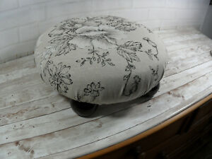 Small Round Footstool With Wood Feet