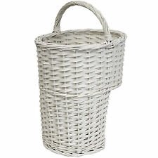 HARTLEYS WHITE OVAL WICKER STAIR STORAGE BASKET WITH HANDLE STEP TIDY/ORGANISER