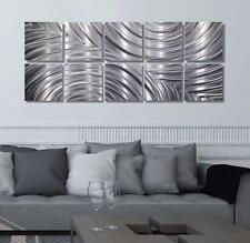 Large Silver Abstract Metal Wall Art Sculpture 10 pc Set Home Decor by Jon Allen