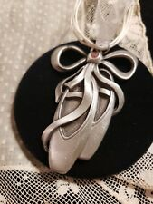 "Ballet Toe Shoes PEWTER & Pink Crystal Necklace, ""ON POINT"" By Gloria Duchin"
