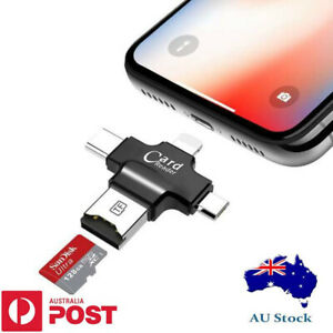 Mirco SD Card Reader/ 4 in 1 USB2.0 OTG Type-C/ for iPhone Android/ AU STOCK