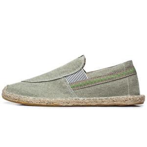 Men's Espadrilles Canvas Fisherman Outdoor Casual Flats Low Top Shoes Slip On