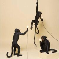 Modern Resin Monkey Hemp Rope Pendant Light Industrial Ceiling Lamp Chandelier