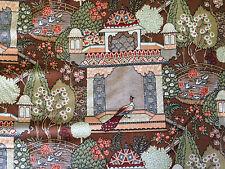 """VTG Alan J Naness Persia Peacocks Cotton Fabric 54"""" W X 5 Yards Gorgeous Print"""