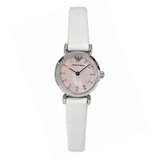 Orologio DA DONNA ARMANI AR1780 Quadrante Rosa Cinturino in pelle bianca, COA, prezzo consigliato £ 279.00