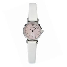 Armani Damenuhr ar1780 rosa Zifferblatt Weiß Lederarmband, COA