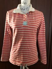 JOULES UK 10 STRIPED PEACH CASUAL BUTTON NECK COLLAR TOP DRAWSTRING WAIST