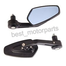 """BLACK MOTORCYCLE 7/8"""" HANDLE BAR END REAR MIRRORS FOR BOBBER CLUBMAN CAFE RACER"""