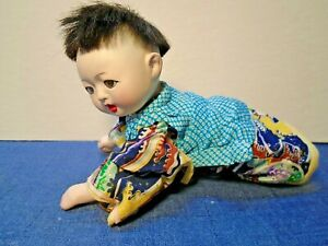 """Vintage Japanese Paper Mache Crawling Doll 10"""" Tall Lot 47"""