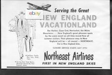 NORTHEAST AIRLINES 1954 CONVAIR 240'S BOSTON TO CAPE COD-NANTUKET-BAR HARBOR AD