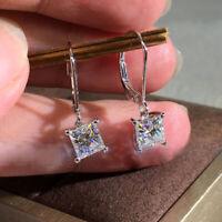 Luxury Princess Cut White Sapphire Dangle Earrings 925 Silver Wedding Jewelry