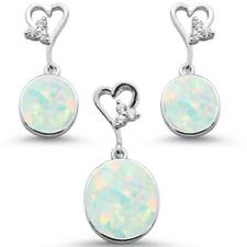 Oval White Opal & Cz With Heart Shape Dangle Earring & Pendant .925 Sterling Sil