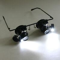 20x fach Juwelier Uhrmacher Lupe LED Brillenlupe Kopflupe Vergrößerung Augenlupe