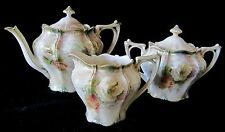 Superb Antique Art Nouveau RS Prussia Roses Tea Set White Tiffany Satin Finish