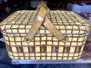 Vintage 1950's Picnic Basket Metal Tin Storage Container