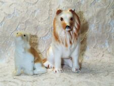 Vintage Collie Lassie Mother Puppy White Brown Dog Miniature Porcelain Figurines