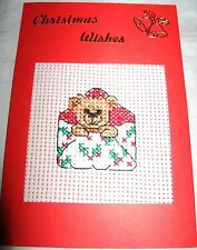 """Christmas Card Completed Cross Stitch Bear Mail 6x4"""""""
