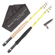"""Fly Telescopic Fishing Rod Fiber Glass 6'6"""" Salmon Trout Foam Cork Grips Handle"""