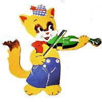 Vintage Wood Hey Diddle Diddle Cat Playing Fiddle Wall Hanging Hand Painted 1970