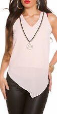 Light pink or yellow chiffon top with gold chain necklace in one size 8 10 12