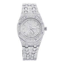 Techno Pave Men's Pray Hand Rapper CZ Iced Silver Plated Metal Watches WM 8944 S