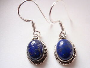 Blue Lapis Ovals with Rope Style Accents 925 Sterling Silver Dangle Earrings
