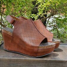 d4471745797 Pierre Dumas Womens High Platform Wedge Sandals Perforated Whiskey